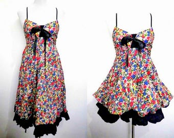 floral two way dress (small), knee length sundress, mini bubble dress