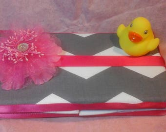 Wipe case gray and white chevron with hot pink ribbon any color ribbon is possible