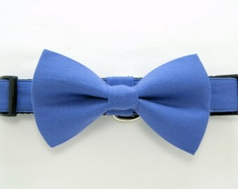 Wedding dog collar-Blue Dog Collar,Periwinkle Blue Dog Collars with bow tie set