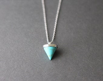 Little Turquoise Spike Necklace - SILVER Turquoise spike necklace