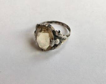 vintage sterling and citrine Scottish thistle ring, size 5.5