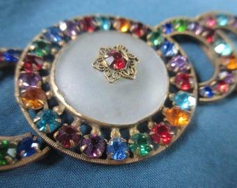 Vintage 1940's Multi-Color Rhinestone Belt Buckle Remade Bracelet