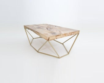 Modern Small Coffee Table in Salvaged Wood and Brass