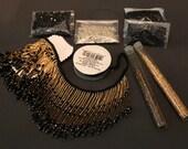 DIY Beaded Lampshade Fringe Kit, Craft Project, Black Gold, Victorian Lampshade Fringe, Shabby Chic Decor, Sammie Doos USA