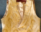 Gold tone on tone jacquard double-breasted formal vest