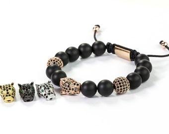 Leopard Head Beads, Cubic Zirconia CZ Micro Pave  Hollow Filigree Leopard Head Bead,  17x10x7.5mm, Pkg of 1 PCS, B142.P01