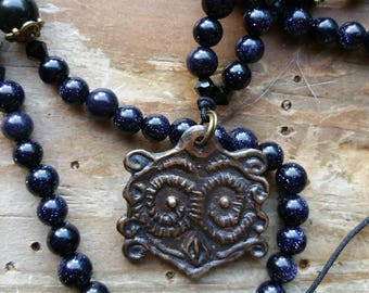 Sacred Owl, owl necklace, owl prayerbeads, owl mala, witch necklace witch prayerbeads, witch mala, wisdom prayerbeads, wisdom mala