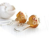 50%off SALE Seaglass feel Earrings/ Amber Yellow handmade beads/ Lampwork Beach earrings/ Glass Dangle Earrings/ Beach jewelry by MayaHoney