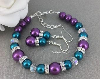 Teal and Purple Bracelet, Teal Bracelet, Bridesmaid Gift, Bridesmaids Bracelet, Jewelry Set, Pearl Jewelry, Teal Wedding, Gifts