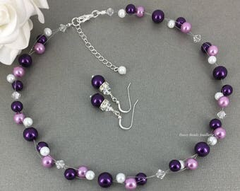 Purple Pearl Floating Necklace Illusion Bracelet Purple Necklace Jewelry Set Bridesmaids Gift for Her Bridesmaid Jewelry Bridal Jewelry