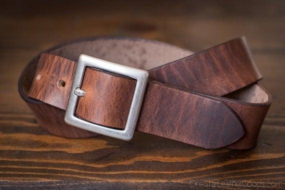 "Custom sized belt - 1.25"" width - Horween Dublin leather - center bar buckle - brown nut"