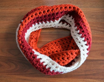 Sunset - Burnt orange, red and white infinity crochet scarf