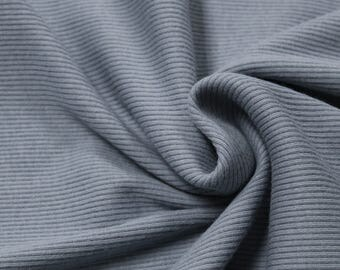 Blue Slate 2x1 Baby Rib Knit 57'' Medium-Weight Cotton Knit Fabric by the Yard