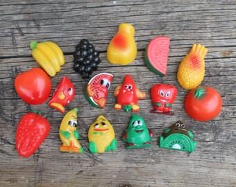 Vintage Fruit Magnet, Set of 16, Happy Face Magnets, Fruit Face Magnet, Retro Kitchen, Kitchen Deco, Fruit Anthropomorphic People Magnets