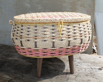 Vintage Wicker Sewing Basket on Legs, Sewing Box with Legs, Standing Sewing Box, Craft Box, Pink and Tan Sewing Box, Flower Power Inside
