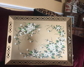 French Country Shabby Chic Romantic Cottage Tole Farmhouse Dogwood flower Tray