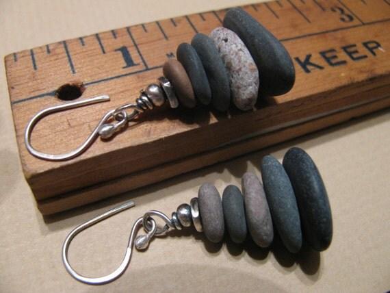Lake Superior Pebbles Granite Stone and Sterling Silver Karen Hill Tribe Silver Earrings-Toniraecreations