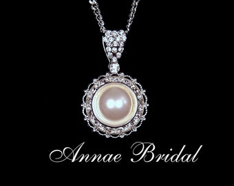 "Bridal jewelry, wedding, White pearl and rhinestone pendant necklace, Swarovski, silver ""Pearl Radiance"" necklace"