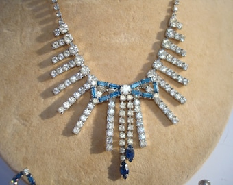 1950's Parure Set Blue and White Rhinestone With Bows
