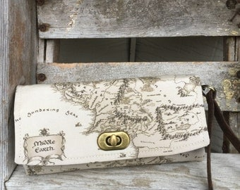 Map of Middle Earth Wallet, Middle Earth Wallet, Lord of The Rings Wallet, Fandom Wallet, Geeky Wallet, Ready to Ship Wallet