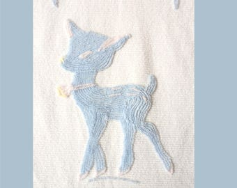 """Vintage Chenille Baby Bedspread Baby Blue Deer 40""""x 66""""  Very Good Condition"""