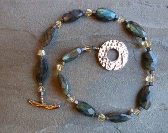 Flashy Labradorite and Citrine Necklace