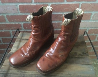 Vintage Men's Leather Boots- size 11 1/2 made by El Canelo