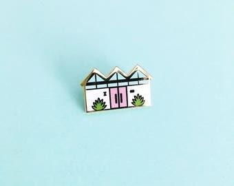Mid Century Palm Springs House (Pink) // Enamel Pin