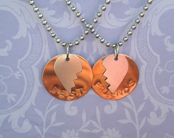 Hand Stamped Best Friends Necklace Set