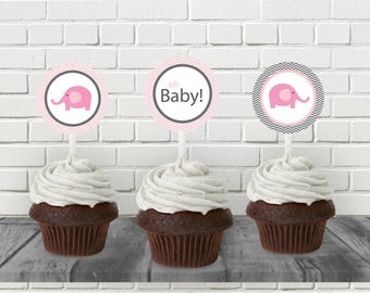 "Pink Elephant Baby Shower 2"" Cupcake Topper - Printable PDF - Instant Download - Immediate Download"