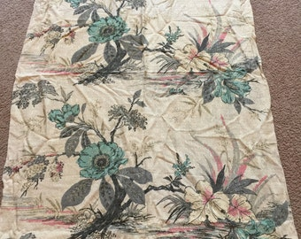 Barkcloth, Floral, Turquoise, Pink and Grey