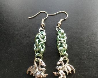 Seafoam Dragon petite byzantine earrings