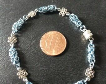 Dainty byzantine bracelet, sky blue with celtic knots