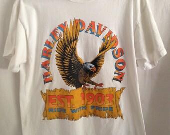 Rare 80s Vintage Harley-Davidson T Shirt Men's Large. Front and Back Graphics Harley Davidson Shirt Made in the USA