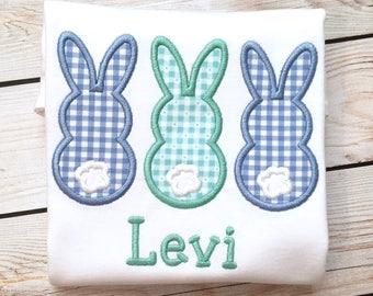 Boy or girl Easter bunny appliqué shirt or onesie with name, Boys Easter shirt, girls easter shirt, easter appliqué shirt