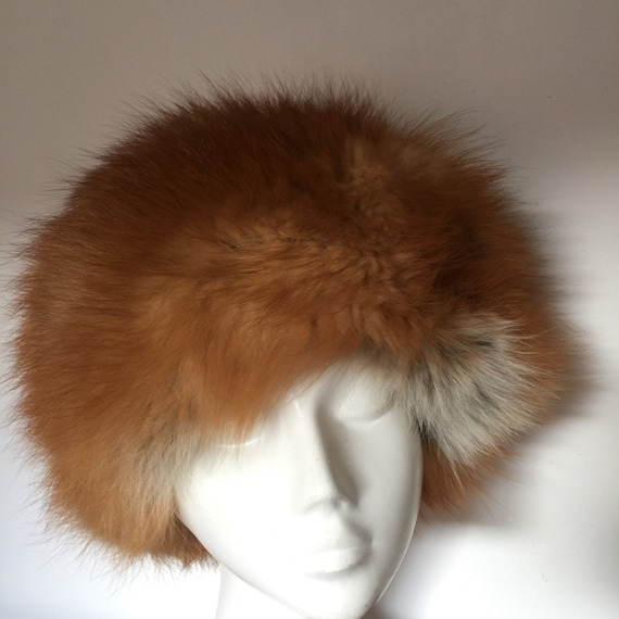Vintage fox fur hat furry winter ski hat small medium