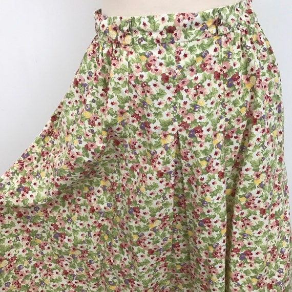 Vintage skirt floral handmade high waisted UK 10 1940s style chintz floral cream summer cotton midi length 40s style