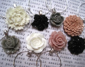 Wine Charms, Set of 8, Rose, Gray and White, Black Party Decor, Wedding Favors, Hostess Gifts, Stocking Stuffer, Small Gift