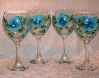 PANSY WINE GOBLETS, blue, set of four
