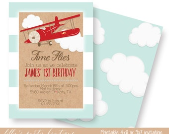 Airplane Birthday Invitation, Airplane Party, Boy Airplane Invite, Airplane Birthday Party Invite-YOU PRINT