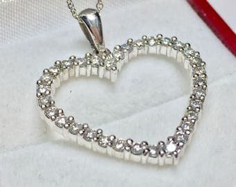ELEGANT HEART PENDANT l 14KT White Gold Diamond Heart Pendant l Diamond Heart Necklace l White Gold Heart Necklace