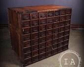 Vintage Industrial Depression Era 56 Drawer Shop Made Hardware Storage Cabinet