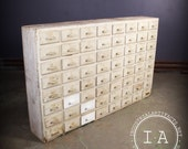 Vintage Industrial Depression Era 64 Drawer Apothecary Cabinet