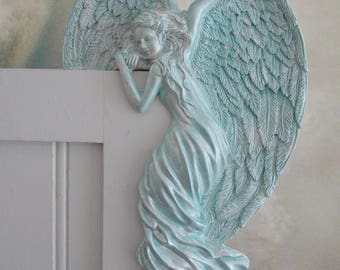 TURQUOISE ANGELS . Set of 2 . Right Handed Angels . Watching Over You . Hand on Doors or Cabinets . Angels of Peace . Fast Shipping .