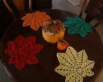Leaf PlaceMats - Holiday Decor -  Cotton - Autumn - Red, Green, Yellow Orange Leaf Place Mats, Fall Leaves - Handmade - Crochet