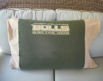 University of South Florida Bulls Upcycled/recycled T-shirt Standard size Pillowcase bedding