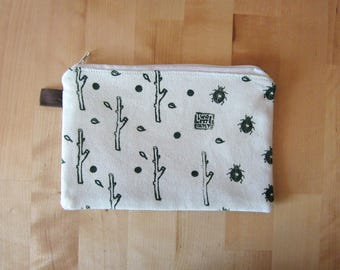 Hand printed canvas pouch, Cosmetics pouch, Beetles and plants,  Zipper pouch, Naturalistic bag, handprinted canvas, white pouch