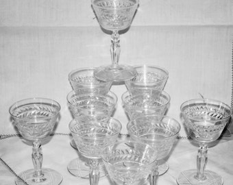 Vintage Set of Ten Etched Wine Glasses with Etched Star of David on Base