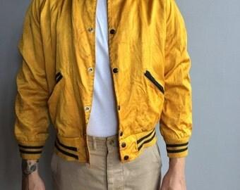 SALE 1950s Yellow Satin Varsity Jacket with snap button close Mich. Power Shovel Co (Medium)