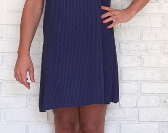 90s Size Small Navy Polka Dot Shift Dress